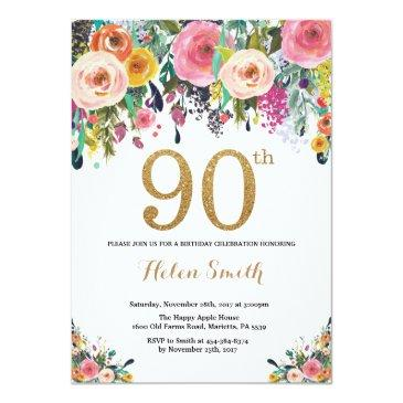 Small Floral 90th Birthday Invitations Gold Glitter Front View