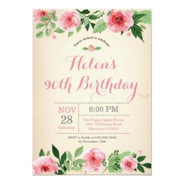 floral 90th birthday invitations pink watercolor
