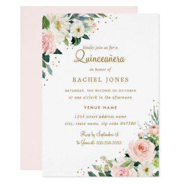 floral blush pink gold quinceanera invitation