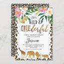 floral cheetah print onederful birthday invitation