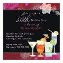 floral cocktails 50th birthday party invitations