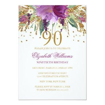 Small Floral Glitter Sparkling Amethyst 90th Birthday Invitations Front View