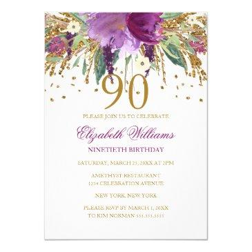 floral glitter sparkling amethyst 90th birthday invitations
