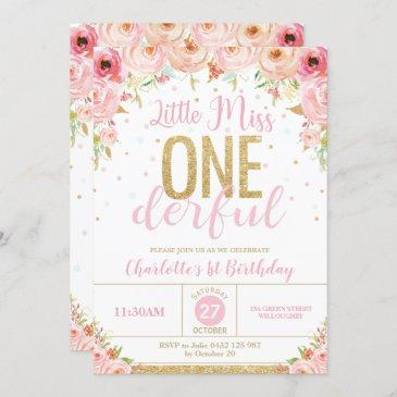 floral little miss onederful 1st birthday gold invitation