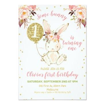 Small Floral Pink Gold Bunny 1st Birthday Invitation Front View