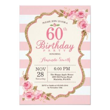 floral pink peonies 60th birthday party invitation
