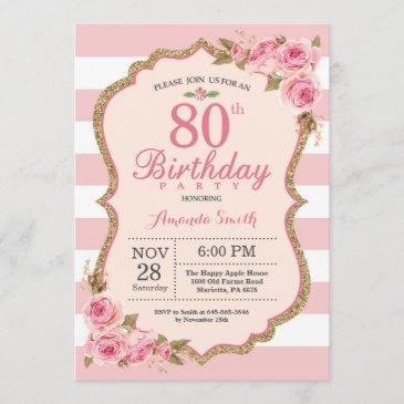 floral pink peonies 80th birthday party invitation
