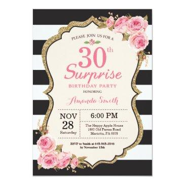 floral pink peonies surprise 30th birthday party invitation