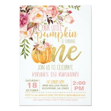 Small Floral Pumpkin First Birthday Invitation - Girl Front View