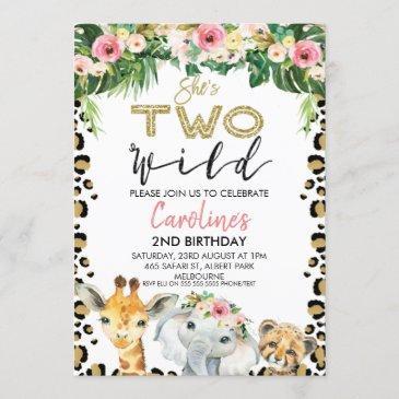 floral she's two wild cheetah print birthday invitation