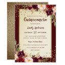 floral sparkle burgundy gold quinceanera invite