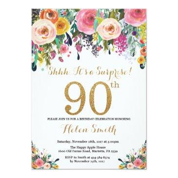 Floral Surprise 90th Birthday Invitations Gold