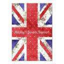 floral uk union jack flag polka dots sweet 16 invitations