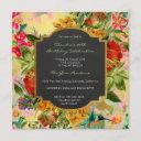 floral watercolor spring baroque birthday gold invitation