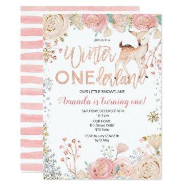 floral winter onederland snow birthday invitation