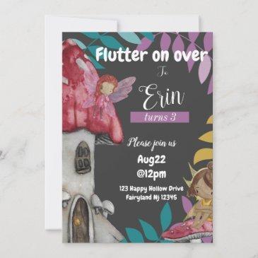 flutter on over birthday invitation