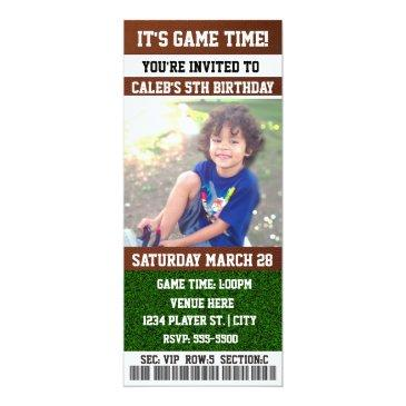 football birthday party ticket photo invitations