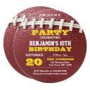football laces gold round invitation