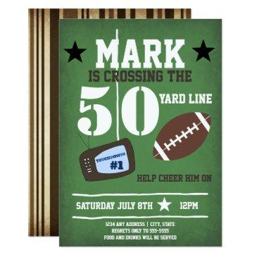 football themed 50th birthday invitation