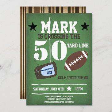 football themed 50th birthday invitation