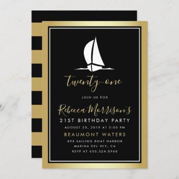 formal gold black & white sailing boat birthday invitation
