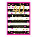 forty and fabulous hot pink black white gold bday invitation