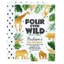 fourever wild 4th birthday party safari animals invitation