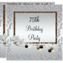 framed elegance 75th birthday invitation