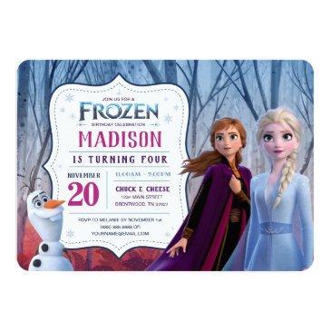 Small Frozen 2 - Anna, Elsa & Olaf Birthday Party Invitation Front View