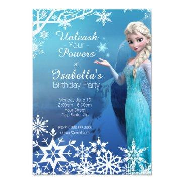 Small Frozen Elsa Birthday Party Invitations Front View