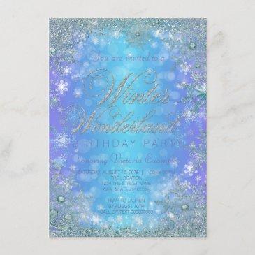 frozen winter wonderland birthday party invitation