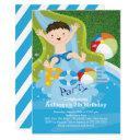 fun boy pool birthday party invitation