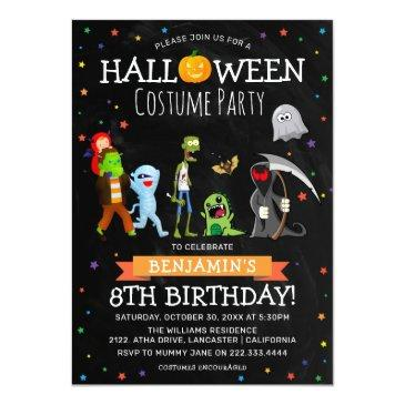 Small Fun Halloween Kids Costume Birthday Party Invitation Front View