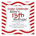 fun red and white wavy lines stripes pattern gifts invitation