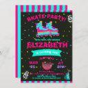 funky girl roller skate chalkboard birthday party invitation