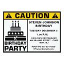 funny birthday party caution signboard invitation