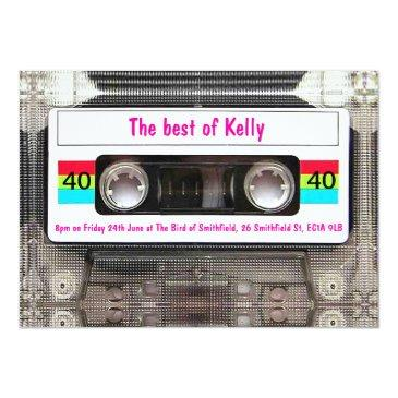 funny dj 80s cassette tape 40th birthday custom invitation
