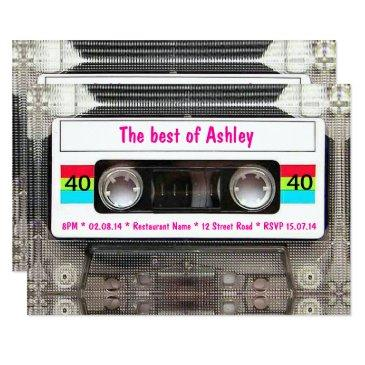 funny dj 80s cassette tape 40th birthday invitation