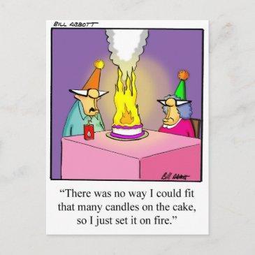 funny firey birthday cake postinvitations