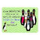 funny penguin bowling birthday party personalized invitation