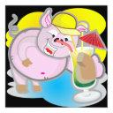 funny pig party invitation