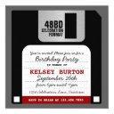 funny retro floppy disc party invitation