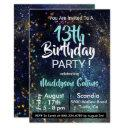 galaxy stars birthday party invitation