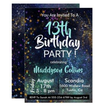 galaxy stars birthday party invitations
