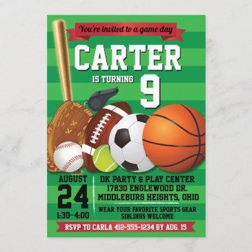 game day sports team birthday party invitation
