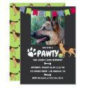 german shepherd dog birthday photo invitation