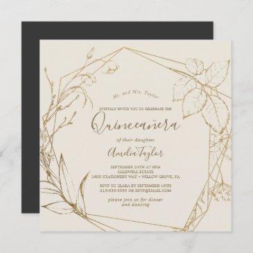 gilded floral | cream and gold quinceañera invitation