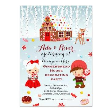 gingerbread house birthday party invitations