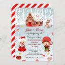 gingerbread house twins birthday party invitation