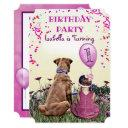 girl and her dog purple birthday party invitation